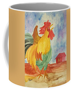 Coffee Mug featuring the painting The Cock Crows by Maria Urso
