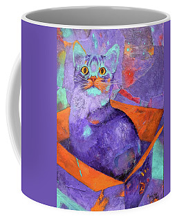 Coffee Mug featuring the painting The Color Purrrple by Nancy Jolley