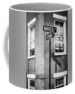The Corner Of Winter And Spring Bw Coffee Mug