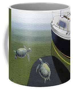 Coffee Mug featuring the painting The Curiosity Of Sea Turtles by Gary Giacomelli