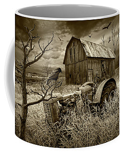 Coffee Mug featuring the photograph The Decline And Death Of The Small Farm In Sepia Tone by Randall Nyhof