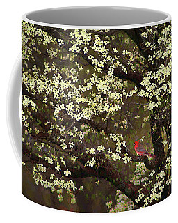 Coffee Mug featuring the digital art The Dogwoods And The Cardinal by Darren Fisher