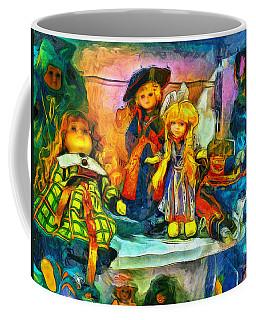 Coffee Mug featuring the digital art The Dolls by Leigh Kemp