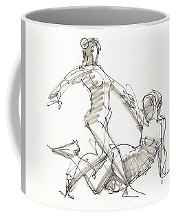 Coffee Mug featuring the drawing The Duo by Judith Kunzle