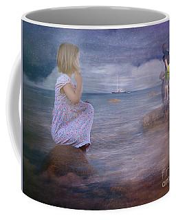 The Explorers Underneath The Night Sky At The Seashore Coffee Mug by Mary Lou Chmura