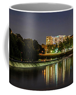 Coffee Mug featuring the photograph The Fairmount Dam And Art Museum At Night Panorama by Bill Cannon