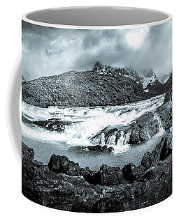 The Falls In Black And White Coffee Mug by Andrew Matwijec