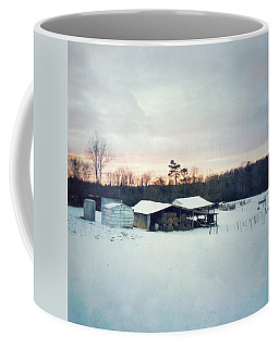 The Farm In Snow At Sunset Coffee Mug