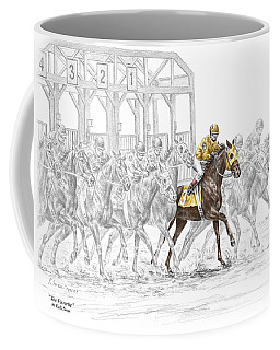 The Favorite - Thoroughbred Race Print Color Tinted Coffee Mug