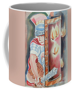 Coffee Mug featuring the painting The Fiery Darts Of The Evil One by Kip DeVore