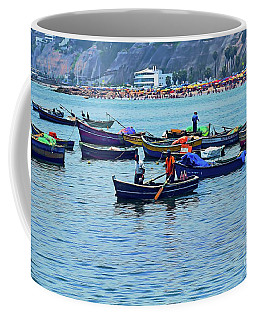 Coffee Mug featuring the photograph The Fishermen - Miraflores, Peru by Mary Machare