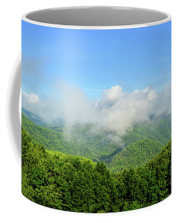 Coffee Mug featuring the photograph The Fog Rises Over The Bluestone Gorge - Pipestem State Park by Kerri Farley
