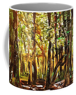 Coffee Mug featuring the painting La Foret Du Mount Beuvray by Belinda Low