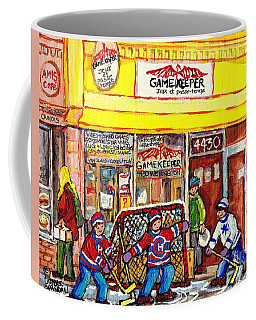 Coffee Mug featuring the painting The Gamekeeper Verdun Montreal Art Shops And Store Front Painting Hockey Goalie Scene Carole Spandau by Carole Spandau