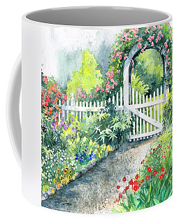 Coffee Mug featuring the painting The Garden Path by Val Stokes