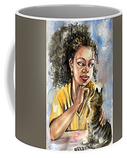 The Girl With A Cat Coffee Mug