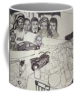 Coffee Mug featuring the drawing The Glad Tidings Of Saint Davids Road - Northampton by Mudiama Kammoh