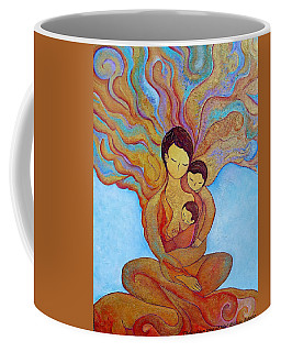 Coffee Mug featuring the painting The Golden Tree Of Life by Gioia Albano