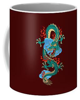 The Great Dragon Spirits - Turquoise Dragon On Red Silk Coffee Mug by Serge Averbukh