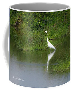 Great Egret By The Waters Edge Coffee Mug