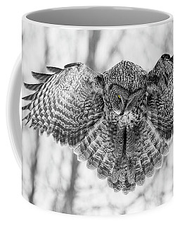 Coffee Mug featuring the photograph The Great Grey Owl In Black And White by Mircea Costina Photography