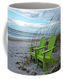 Coffee Mug featuring the photograph The Green Chairs by Paul Mashburn
