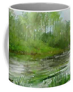 Coffee Mug featuring the painting The Green Magic Of Ordinary Days by Ivana Westin