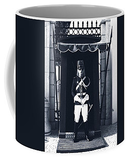 Coffee Mug featuring the photograph The Guard At The Palace by Lorraine Devon Wilke