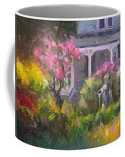 Coffee Mug featuring the painting The Guardian - Plein Air Lilac Garden by Talya Johnson