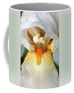 The Heart Of A Bearded Iris Coffee Mug by Sheila Brown