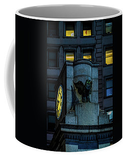 Coffee Mug featuring the photograph The Herald Square Owl by Chris Lord