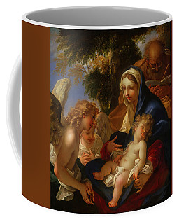 Coffee Mug featuring the painting The Holy Family With Angels by Seastiano Ricci