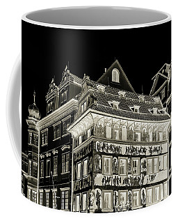 Coffee Mug featuring the photograph The House At The Minute With Graffiti. Black by Jenny Rainbow