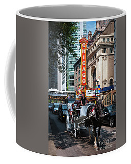 The Iconic Chicago Theater Sign And Traffic On State Street Coffee Mug