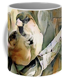 Coffee Mug featuring the mixed media The Inquisitive Sparrow by Susan Maxwell Schmidt