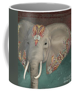 Coffee Mug featuring the painting The King - African Bull Elephant - Kashmir Paisley Tribal Pattern Safari Home Decor by Audrey Jeanne Roberts