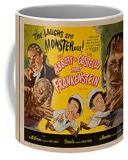The Laughs Are Monsterous Abott An Costello Meet Frankenstein Classic Movie Poster Coffee Mug