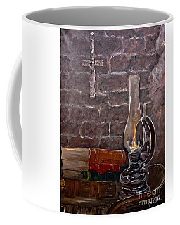 Coffee Mug featuring the painting The Light From Books by AmaS Art