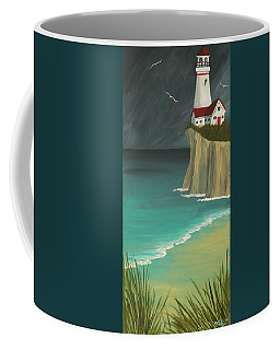 The Lighthouse On The Cliff Coffee Mug