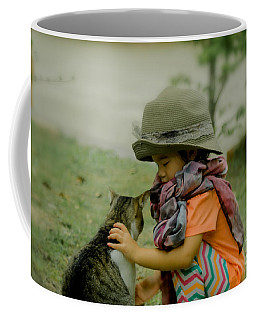The Little Girl And Her Cat Coffee Mug