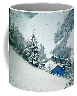 Coffee Mug featuring the photograph The Little Red Train - Winter In Switzerland  by Susanne Van Hulst