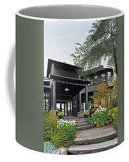 Coffee Mug featuring the painting The Lodge At Fawn Island by Kenneth M Kirsch