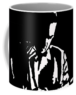 Coffee Mug featuring the drawing The Lonely Jazz Player by Robert Margetts