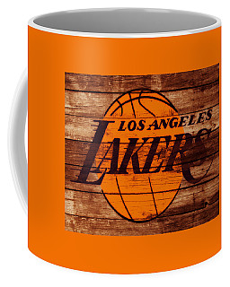 Coffee Mug featuring the mixed media The Los Angeles Lakers W6 by Brian Reaves