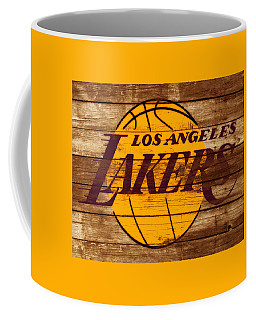 Coffee Mug featuring the mixed media The Los Angeles Lakers W7 by Brian Reaves