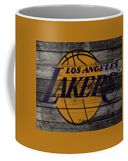 Coffee Mug featuring the mixed media The Los Angeles Lakers W9 by Brian Reaves