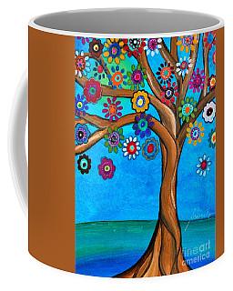 Coffee Mug featuring the painting The Loving Tree Of Life by Pristine Cartera Turkus