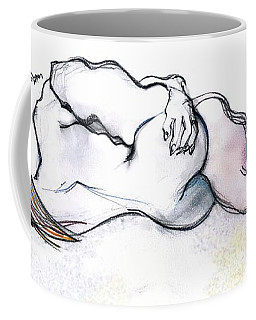 Coffee Mug featuring the mixed media The Lute - Kama Sutra by Carolyn Weltman