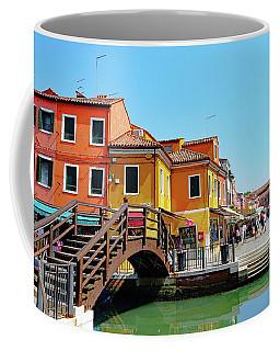 The Main Street On The Island Of Burano, Italy Coffee Mug
