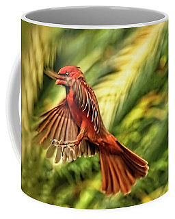 The Male Cardinal Approaches Coffee Mug